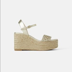 Zara gold espadrilles wedge platform sandals 38